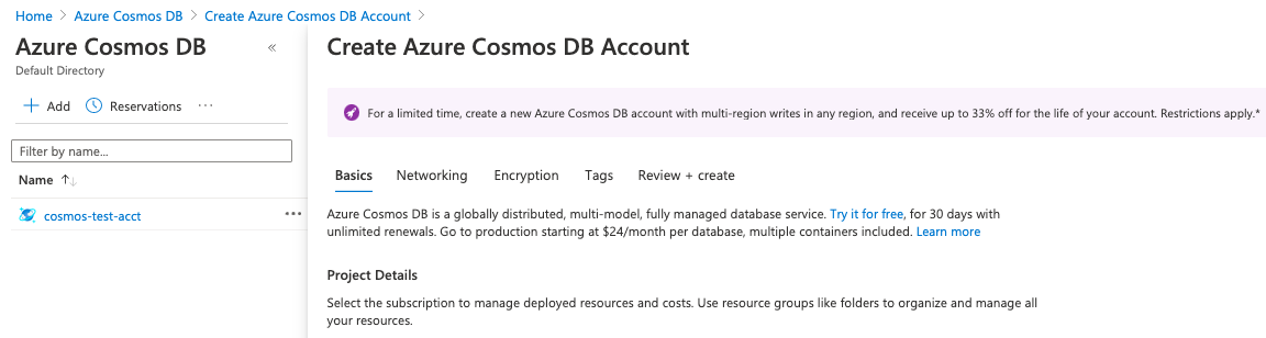 Cosmos DB Account page