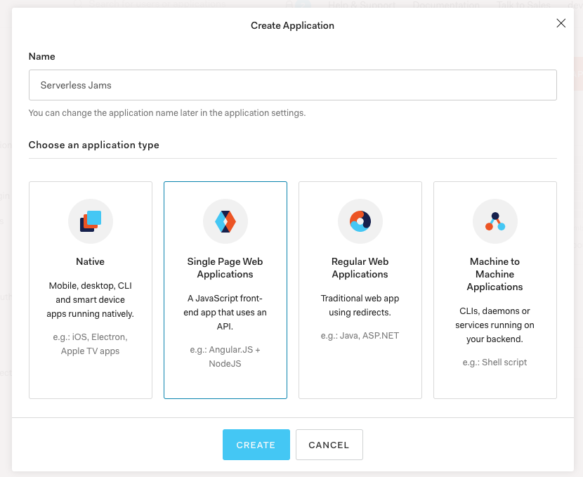 Screenshot of the Create Application process
