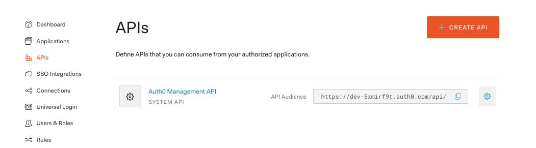 The Auth0 API section of the dashboard