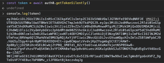 Screenshot of the JS console after console logging the id token