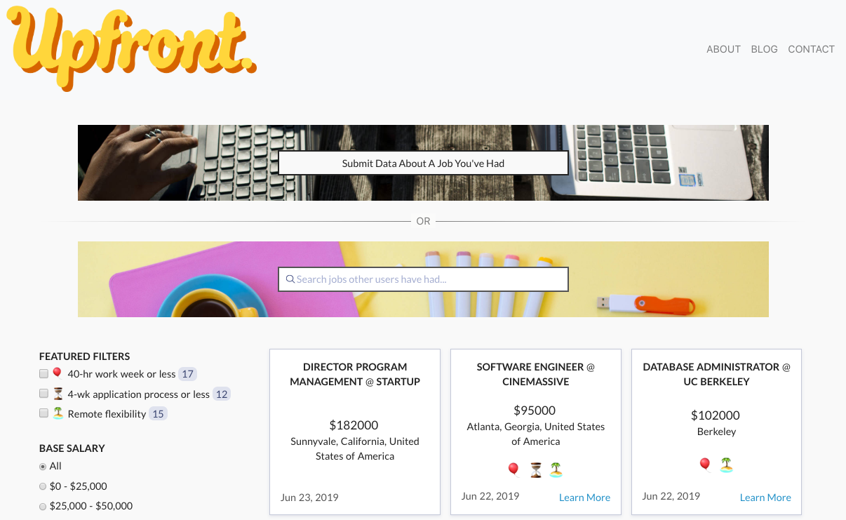 Photo of the Upfront Jobs website